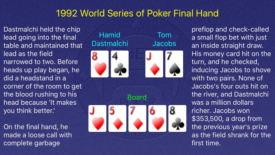 1992 WSOP Main Event Final Hand