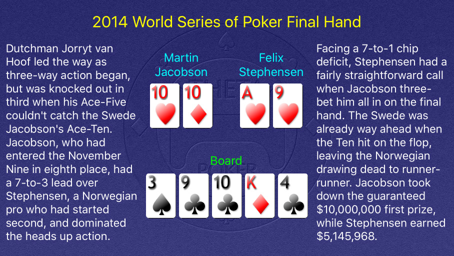 2014 WSOP Main Event Final Hand
