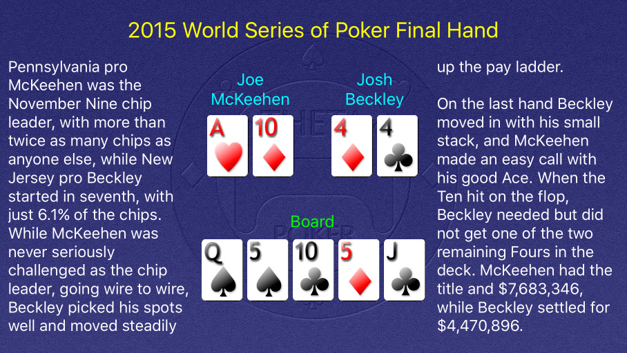 2015 WSOP Main Event Final Hand
