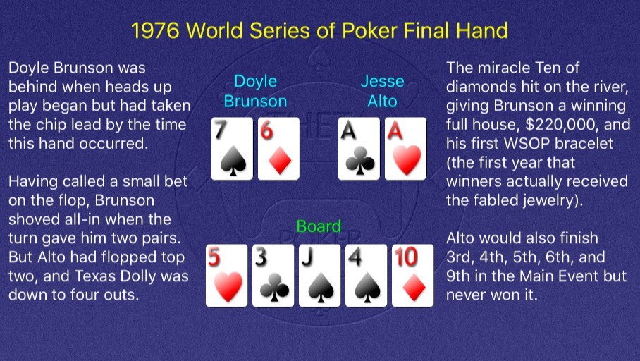 1976 WSOP Main Event Final Hand