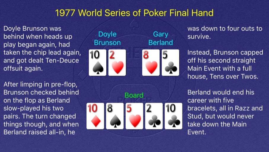 1977 WSOP Main Event Final Hand